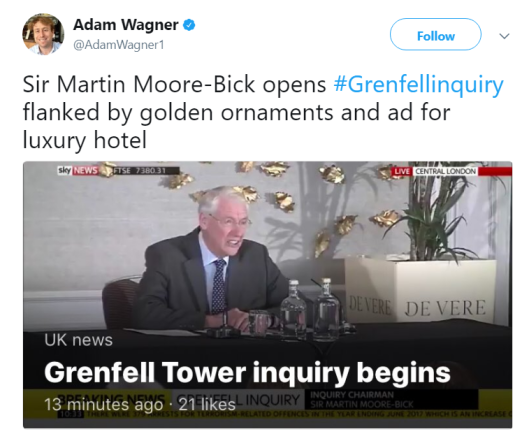 Grenfell Inquiry held in Conservative Party supporting luxury hotel group