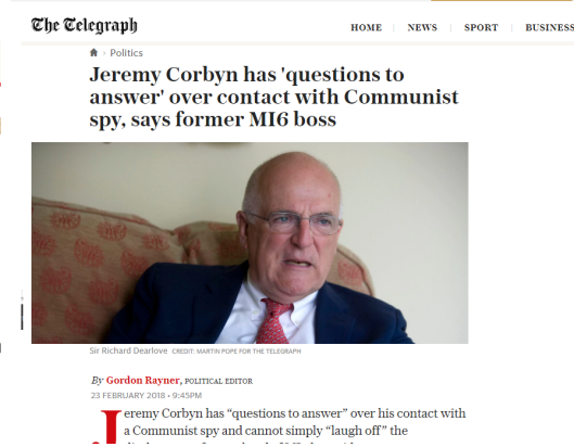 Oops! Telegraph 'forgets' to mention spy boss criticising Corbyn was responsible for dodgy Iraq War dossier heavily criticised by Corbyn