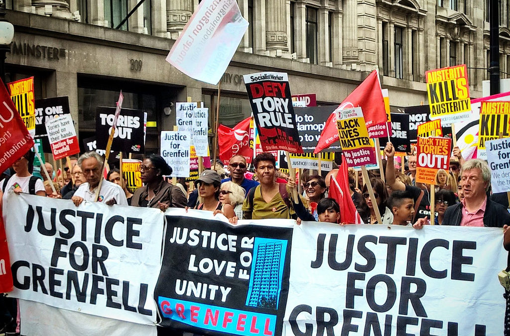 London Grenfell disaster solidarity march, 14 March